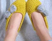 Cozy Mustard and Gray Women's Crochet Slippers
