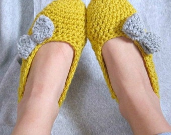 Cozy Mustard and Gray Women's Crochet Slippers