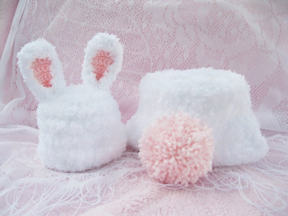Crochet Bunny Inspired Baby Hat and Diaper Cover --Great for photography prop