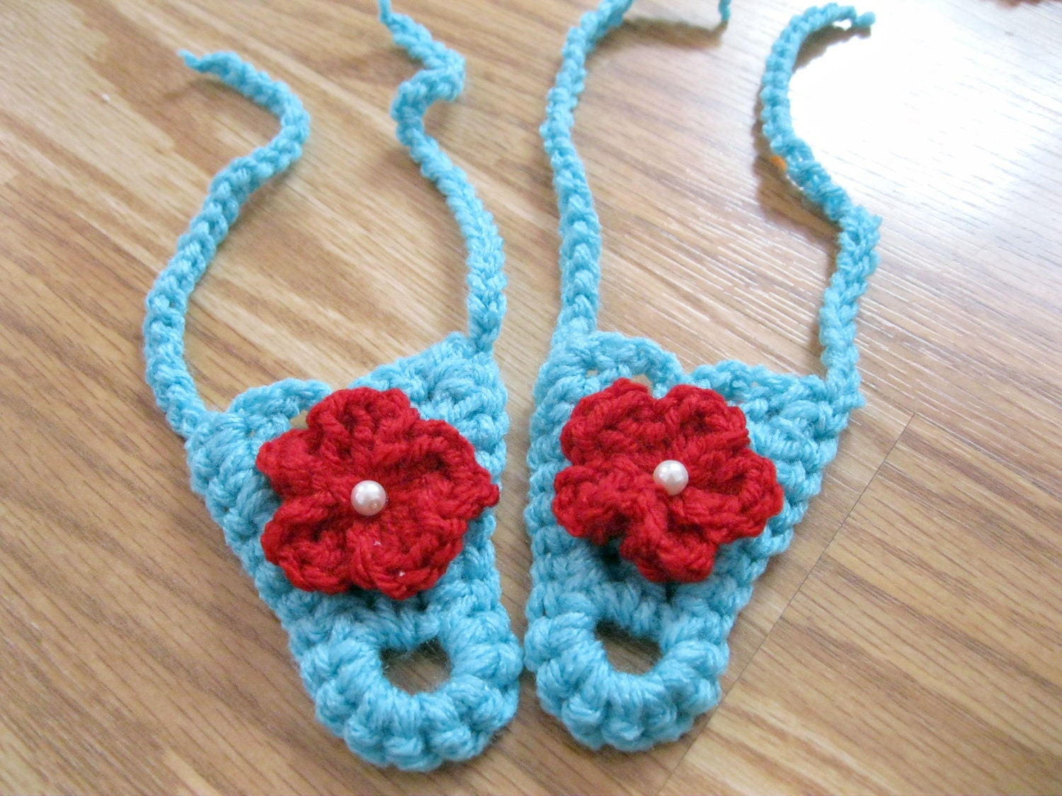 Free Crochet Patterns For Baby Boy Hat And Booties : Aqua Red and White Crochet Baby Barefoot Sandals by RindCounty