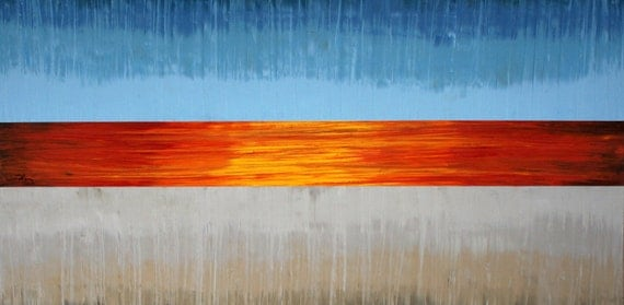 "Original Oil on Canvas Modern Abstract Painting: SUNRISE - 24""x48"""