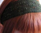 Green Lace Beaded Knit Headband