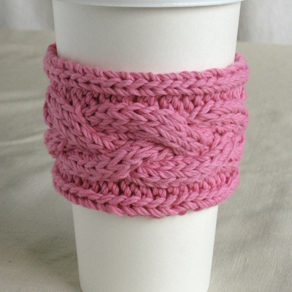 Pink Knit Hot Drink Sleeve