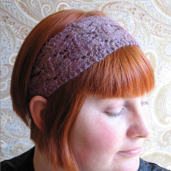 Fuscia Pink Purple Lace Knit Headband - Handspun OOAK