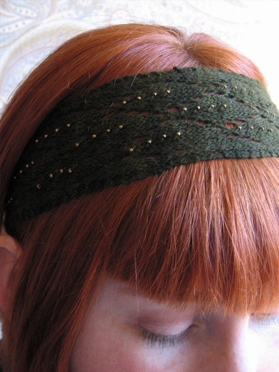 Green Lace Beaded Knit Headband