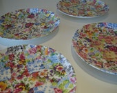"""Square patchwork 8"""" plates - set of 4"""