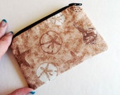 Small Tan and Brown Sanddollars Starfish, Small Zipper Coin Pouch Cotton coin purse
