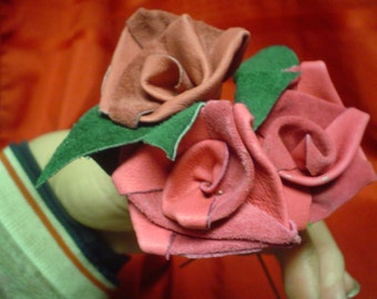 Leather Roses, apparel weight suede, various colors, 6, 9, or 12 in. stems, 3 to a set