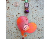 Flamed copper Heart ornament with beaded hook