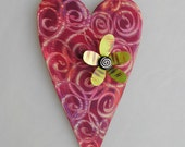 Red Heart magnet display board with flower magnet and beaded wire hanger
