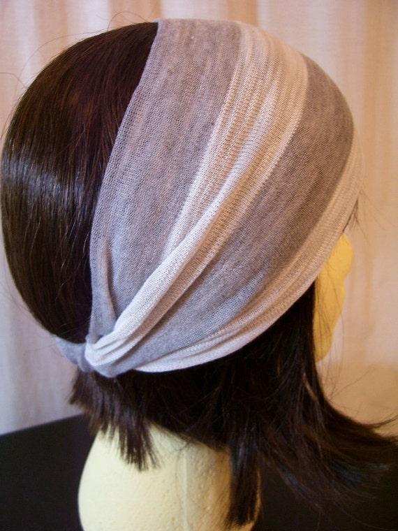 Knit Headband - Grey & White Stripe
