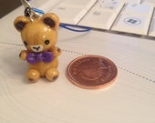 Polymer Clay Charm Cute Teddy Bear with Bow Tie