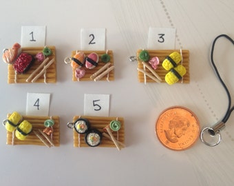 Polymer Clay Charms Sushi on Bamboo (pick 1)