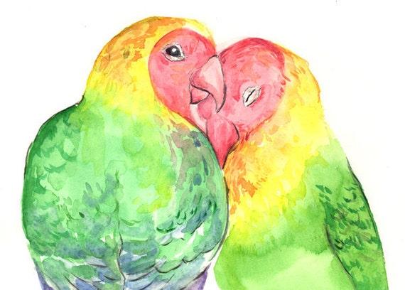 Love Bird Valentine Original Watercolor - Red Heart Painting
