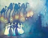 Women Cirlce Dancing Shadows refer to Rumi Caravan poem 11x14 Giclee Print
