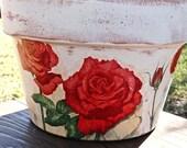THANKSGIVING POT Ceramic / Red Rose Vase / Valentines Clay Pot / Vintage Pot / Country  Pot / Handmade Decoupage Terra Cotta Clay Flower Pot
