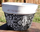 YING YANG VASE / Black and White Clay Pot / Handmade Decoupage Terra Cotta / Hand Painted Distressed pot