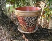 ANIMAL PRINT VASE, Patio Clay Pot, Garden Clay Vase, Zebra Decoupage Clay Pot, Lion Decorative Napkin Vase Pot, Wildlife Vase