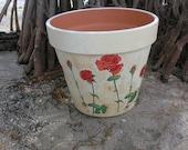 VINTAGE Red Rose POT / Flowers Vase / Garden Terra cotta / Hand painted Flower Pot /  Cottage Clay Pot