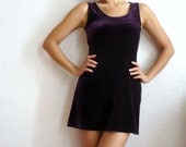 La Petite  French Purple Velvet A line Mini Dress