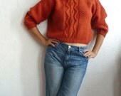 MIA French Vintage Burnt Orange Handknit Cropped Wool Sweater