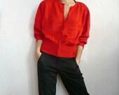 POPPY French Vintage Red Knit Cardigan