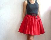 MARIE French Vintage Red CottonMini  Full Skirt