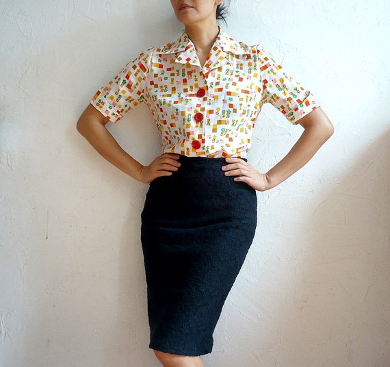 LOLA French 60s Vintage Short sleeves Blouse