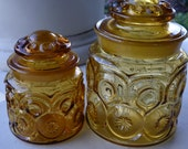 Amber Glass Canister Jars Moon and Stars Pattern by LE Smith- Set of 2