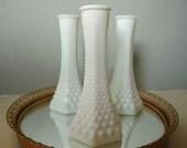 Set of 3 Milk Glass Bud Vases
