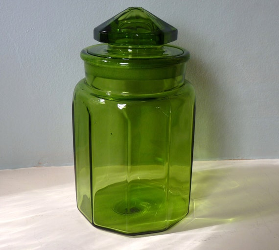 1960's LE Smith Green Panel Glass Canister Jar with Lid