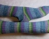 blue purple green gray striped stretchy COTTON WOOL SOCKS small 38/39
