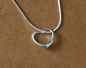 Heart Pendant, Modern Silver Necklace