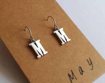 May - Letter Earrings Silver
