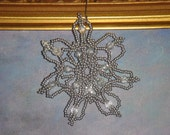 Private Listing for Joan 'savannahholly2' - 2 Handmade Beaded Snowflakes - Silver and Cubic Zirconia