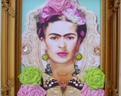 Frida Kahlo spring blossom and butterfly 3D portrait in gilt frame, embellished with wrapped roses
