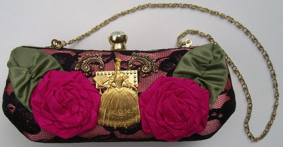 Unique Marie Antoinette upcycled vintage style bag, trimmed with silk handwrapped roses and  vintage brass metal findings