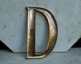 Late 1800s Gilt Bronze Letter D