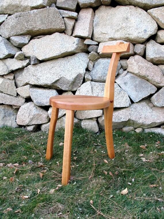 3 Legged Cherry Wood Chair - Guitar Stool - Handmade