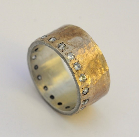 Silver and Gold Engagement Ring Handcrafted