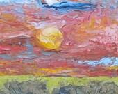 """Painting, oil, sunset, impasto, texture, """"PRAIRIE SUNSET"""""""