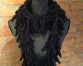 Black  beauty: long black fleece scarf, soft fleece neckwarmer for accessorizing..FREE SHIPPING
