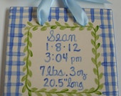 Blue plaid baby boy birth announcement tile