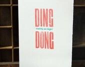 Letterpress Chirtmas card: Ding Dong