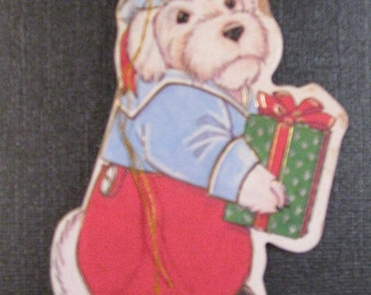 Vintage Christmas Tag/Ornament Cute White Dog with Package VTG Heavy Gift Tag Paper Ornament Red Pants