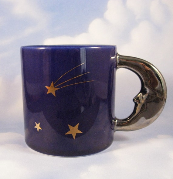 Man in the Moon Mug, Vintage, Midnight Blue with Gold Stars and Silvery Moon Handle