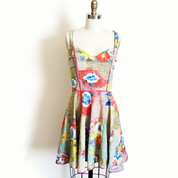 Multicolor Dress with Full Skirt Cut Out Back and Sweetheart Neckline