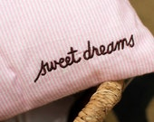 Sweet Dreams Nursery Pillow Cover, Embroidered pillow case, Nursery Decor, Pink, Baby girl decor, 12x16 inch crib pillow