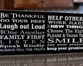 Be Thankful Family Rules Subway Art - wooden sign