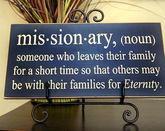 Missionary definition - wooden sign